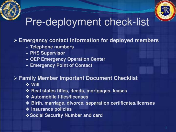 Pre-deployment check-list