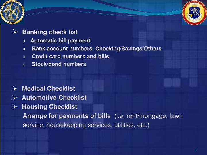 Banking check list