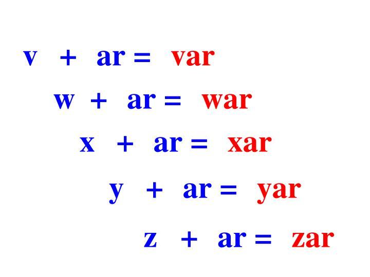 v+ar=
