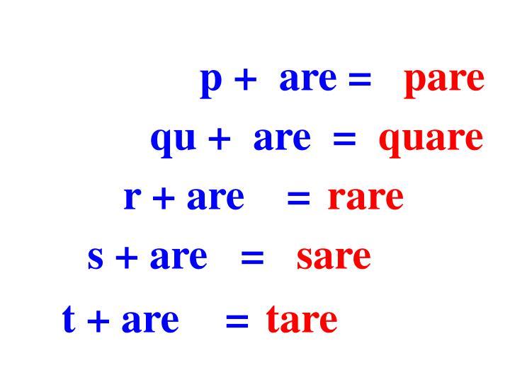 p +  are =