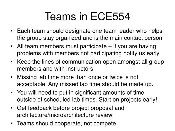 Teams in ECE554