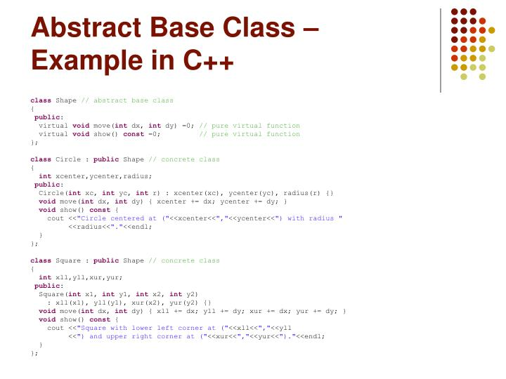 Abstract Base Class – Example in C++