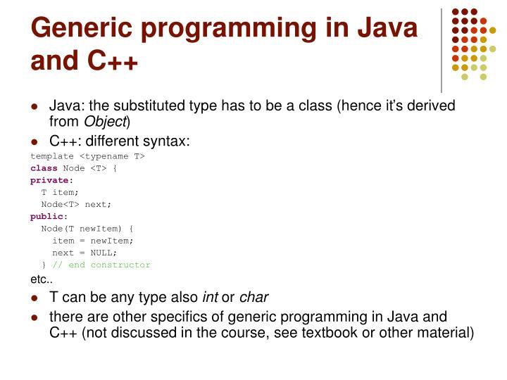 Generic programming in Java and C++