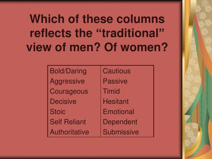 Which of these columns reflects the traditional view of men of women