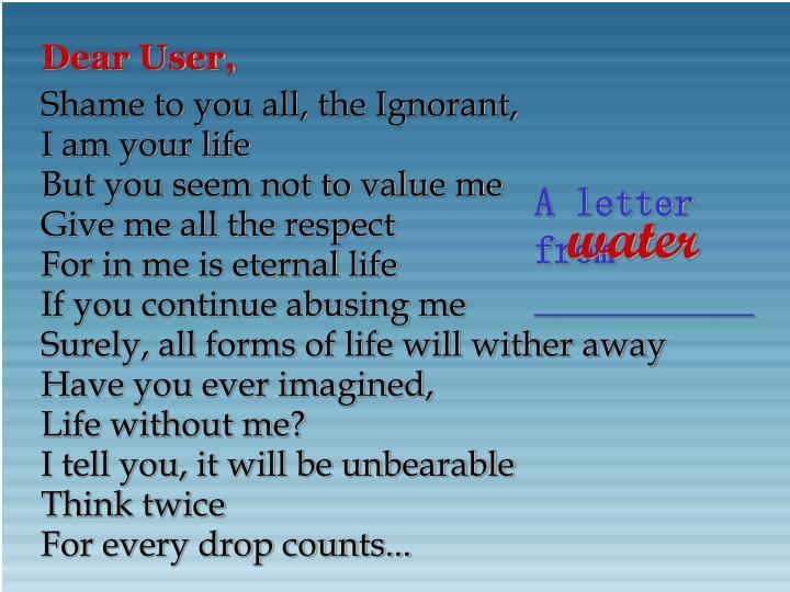 Dear User,