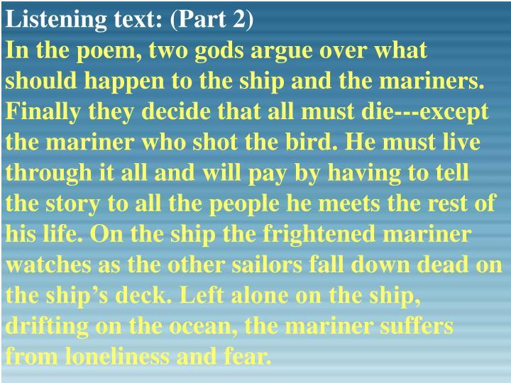 Listening text: (Part 2)