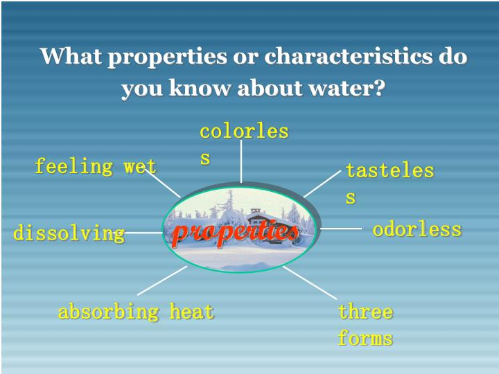 What properties or characteristics do you know about water?