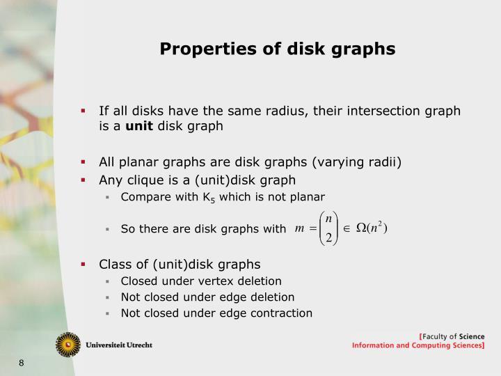 Properties of disk graphs