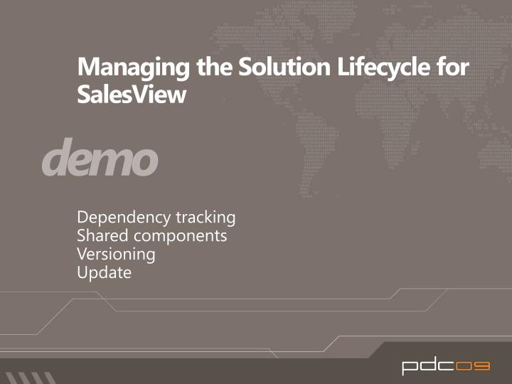 Managing the Solution Lifecycle for