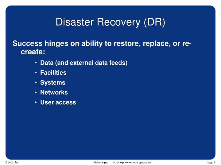 Disaster Recovery (DR)