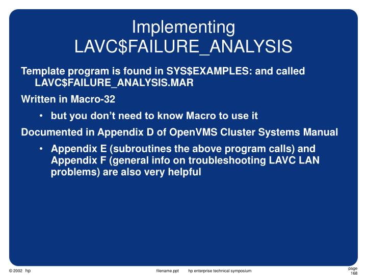 Implementing LAVC$FAILURE_ANALYSIS
