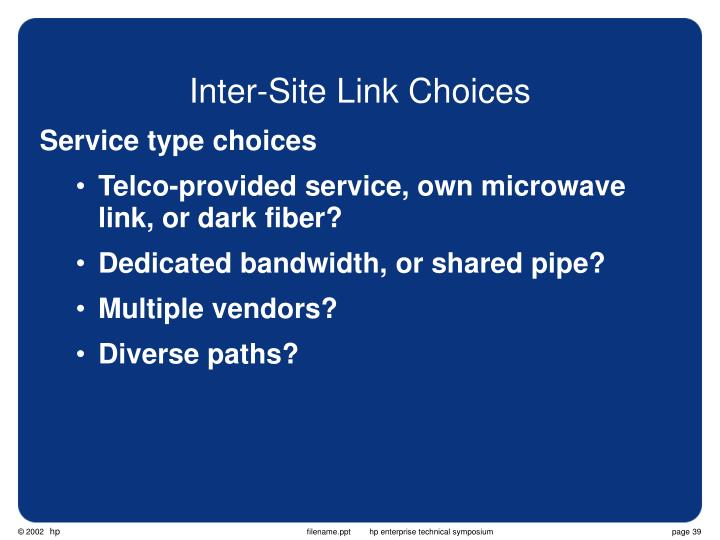 Inter-Site Link Choices