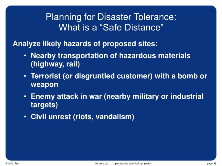 Planning for Disaster Tolerance: