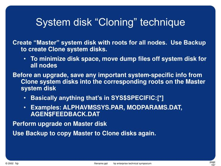 "System disk ""Cloning"" technique"