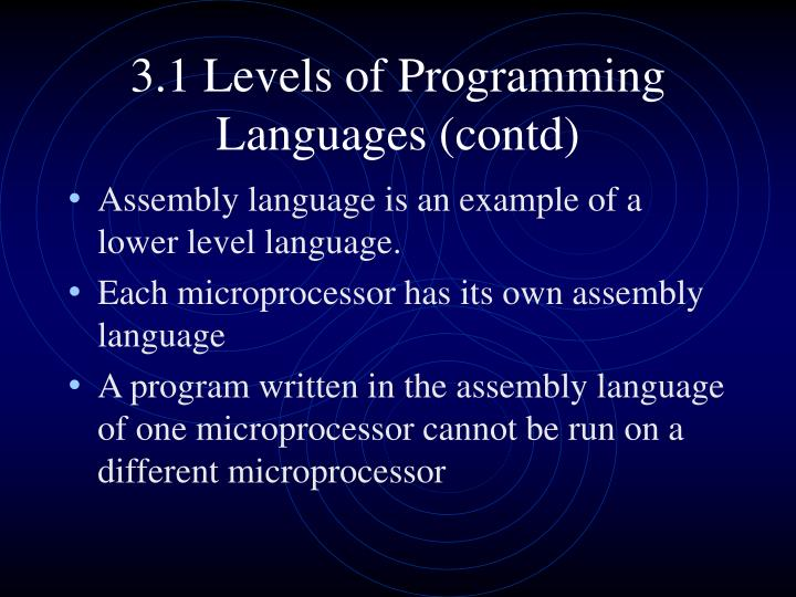 3.1 Levels of Programming Languages (contd)