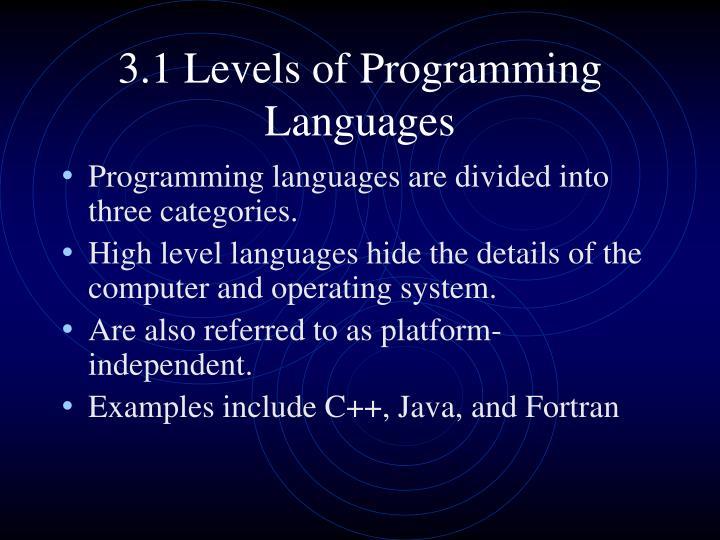 3.1 Levels of Programming Languages