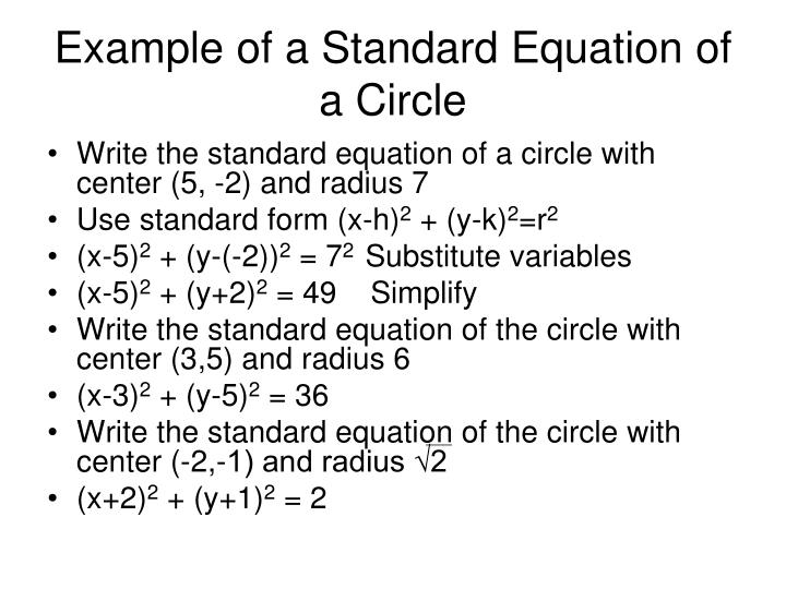 Example of a Standard Equation of a Circle