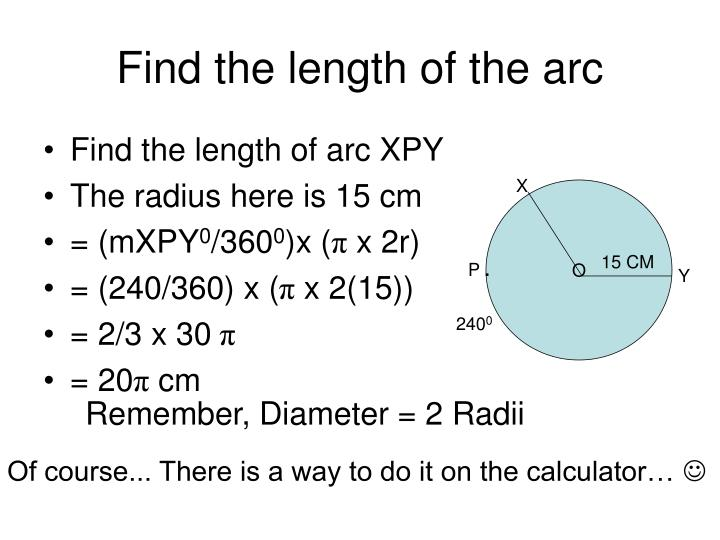 Find the length of the arc