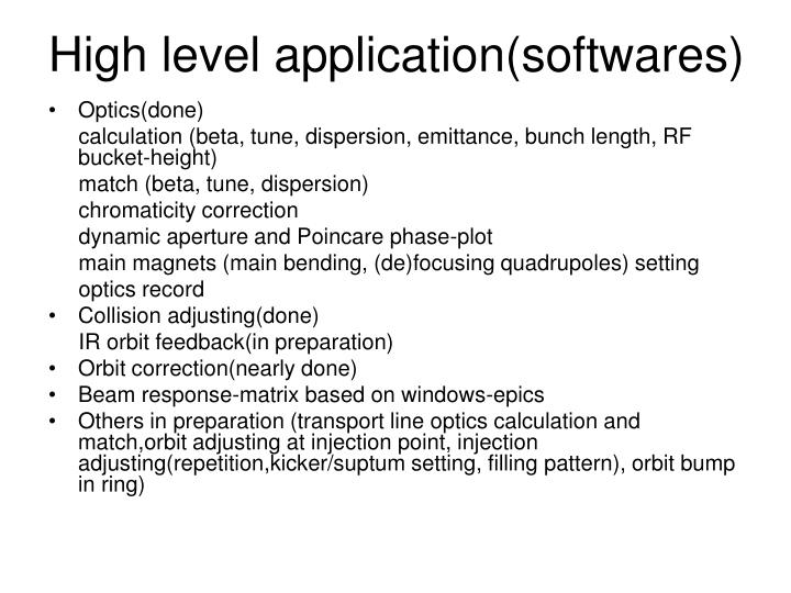 High level application(softwares)