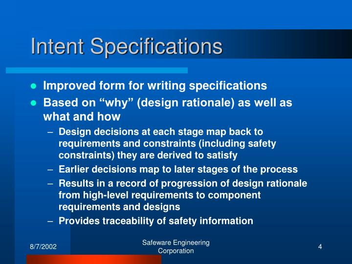 Intent Specifications
