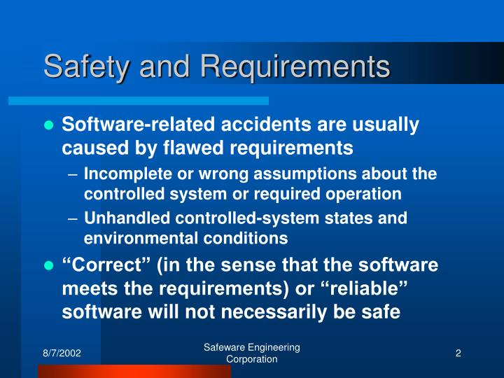 Safety and Requirements