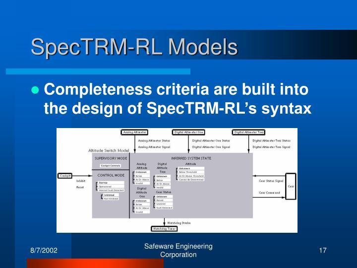 SpecTRM-RL Models