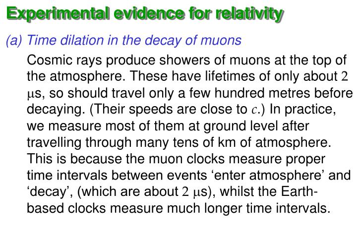 Experimental evidence for relativity