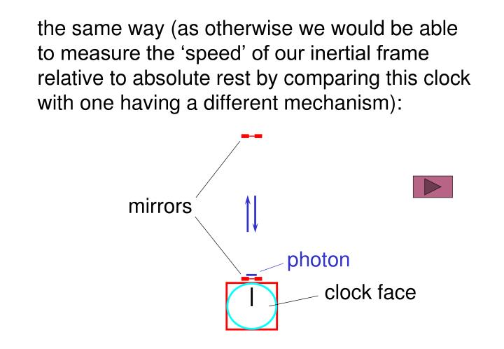 the same way (as otherwise we would be able to measure the 'speed' of our inertial frame relative to absolute rest by comparing this clock with one having a different mechanism):