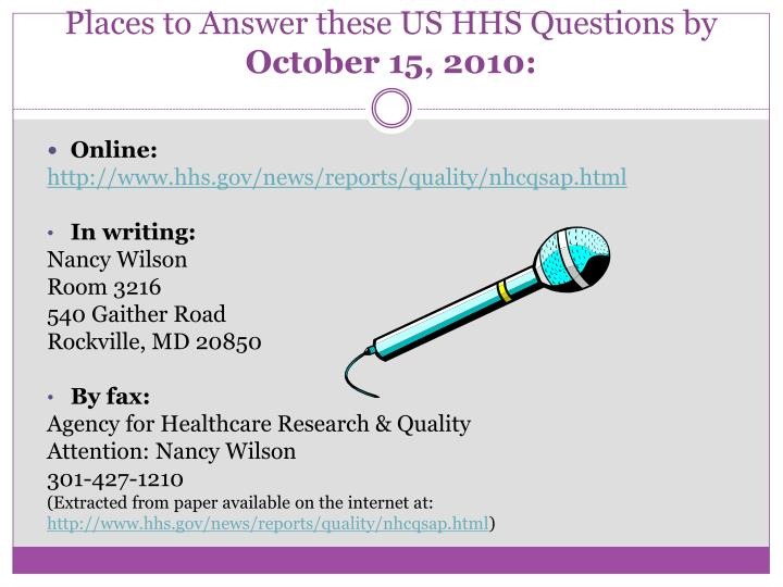 Places to Answer these US HHS Questions by