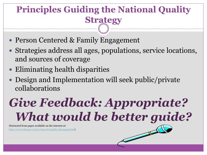 Principles Guiding the National Quality Strategy