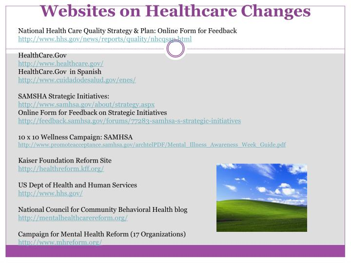 Websites on Healthcare Changes