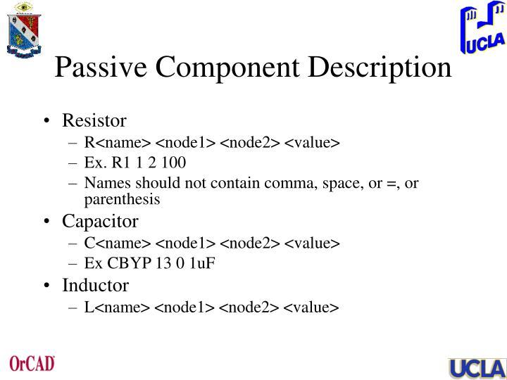 Passive Component Description