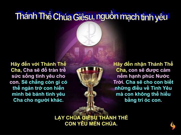 Thánh Thể Chúa Giêsu, nguồn mạch tình yêu