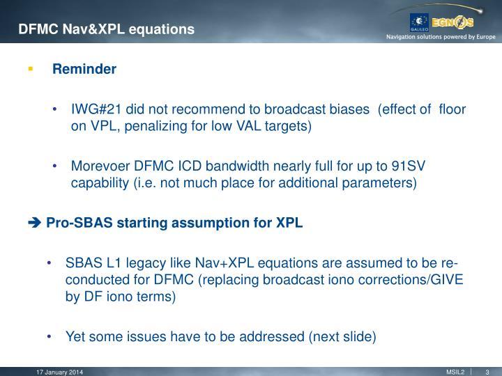 DFMC Nav&XPL equations