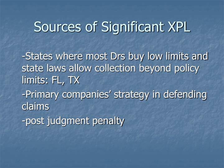 Sources of Significant XPL