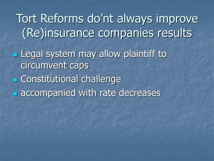 Tort Reforms do'nt always improve (Re)insurance companies results