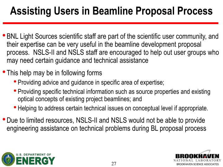 Assisting Users in Beamline Proposal Process