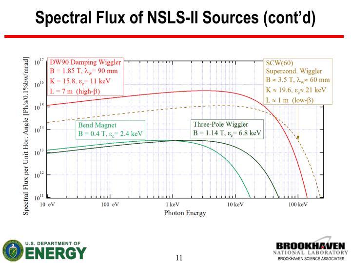 Spectral Flux of NSLS-II Sources (cont'd)