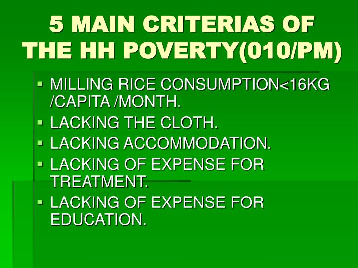 5 MAIN CRITERIAS OF THE HH POVERTY(010/PM)