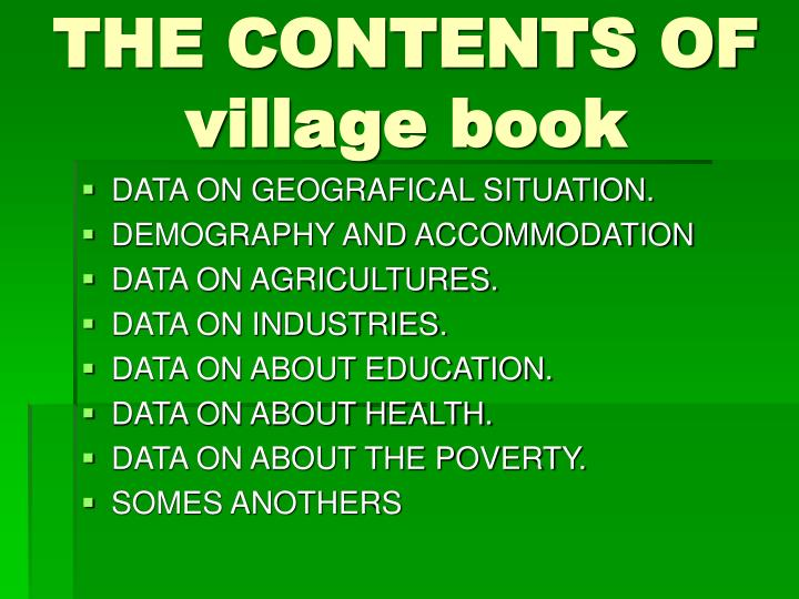 THE CONTENTS OF village book