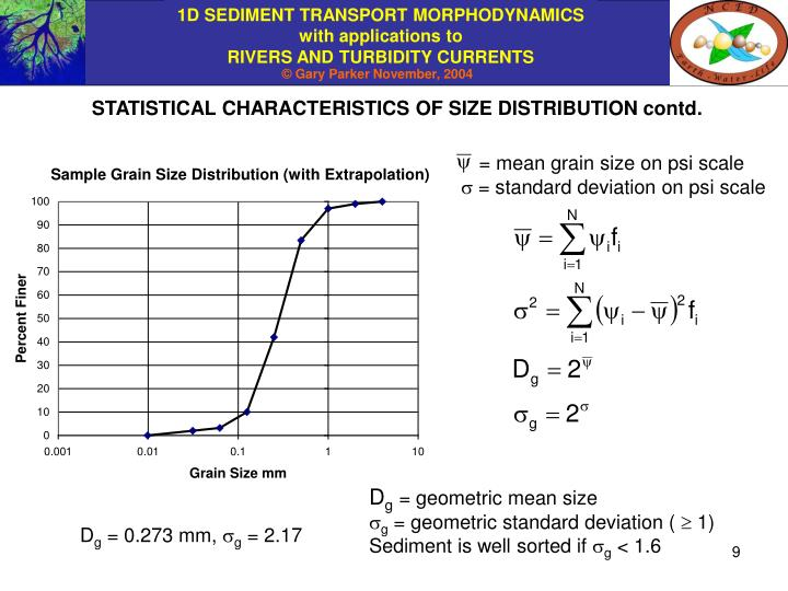 STATISTICAL CHARACTERISTICS OF SIZE DISTRIBUTION contd.