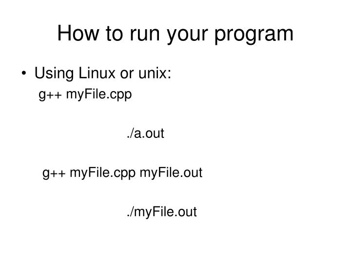 How to run your program