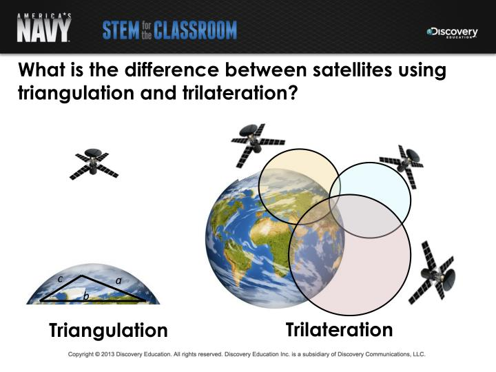 What is the difference between satellites using triangulation and trilateration?