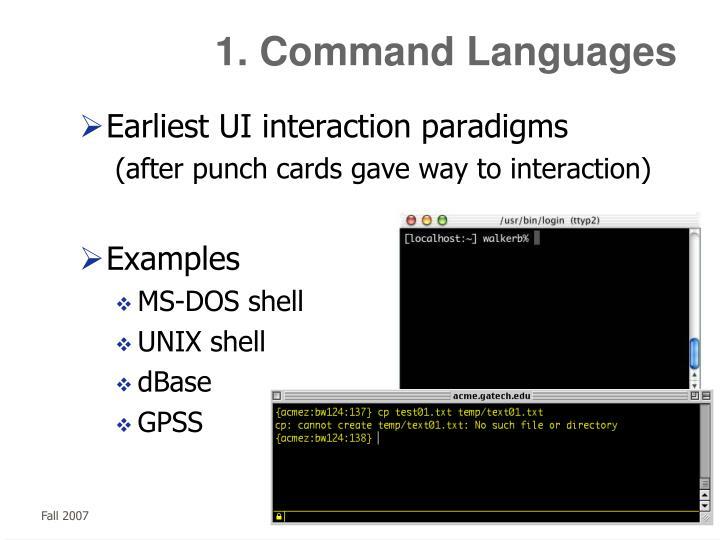 1. Command Languages