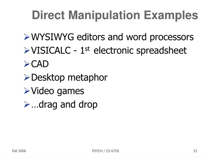Direct Manipulation Examples