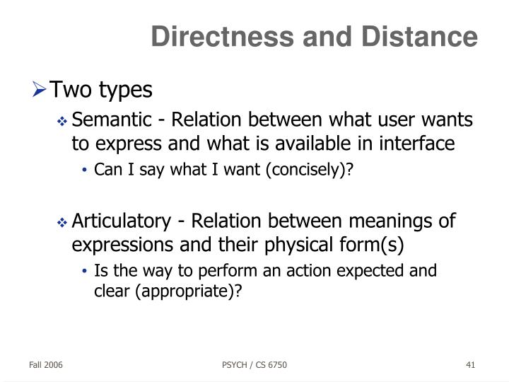 Directness and Distance