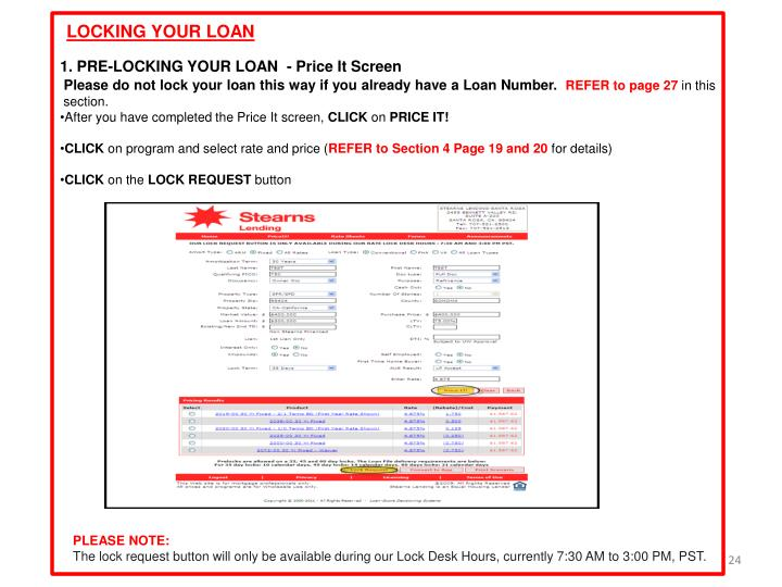 LOCKING YOUR LOAN