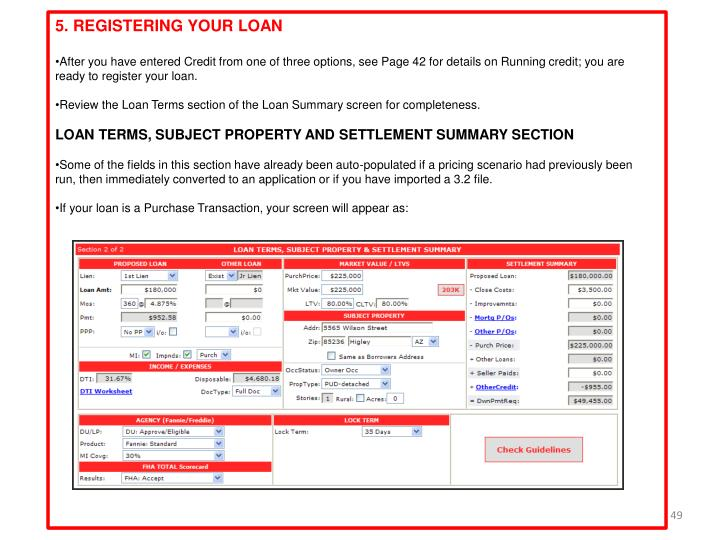 5. REGISTERING YOUR LOAN