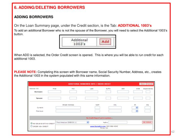 6. ADDING/DELETING BORROWERS