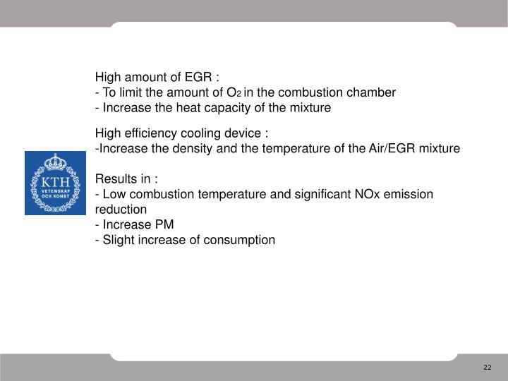 High amount of EGR :